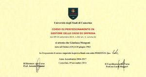 Corso Perfezionamento Gestore Crisi Impresa   Avvocato Gianluca Mengoni
