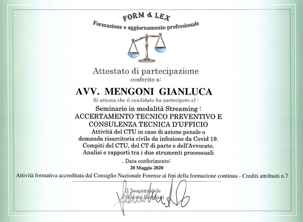 Master: Accertamento Tecnico Preventivo | Avvocato Gianluca Mengoni