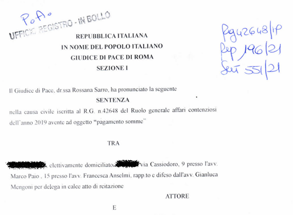 L'AGEA non paga: cosa fare? Sentenza Giudice di Pace Roma | Avvocato Gianluca Mengoni